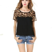 Women Fashion Black Color Leopard Round Neck Short Sleeve Chiffon Shirt WC-21