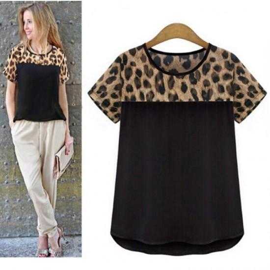 Women Fashion Black Color Leopard Round Neck Short Sleeve Chiffon Shirt WC-21