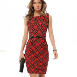 Womens Fashion Red & Black Color Sleeveless Round Neck Midi Dress WC-22