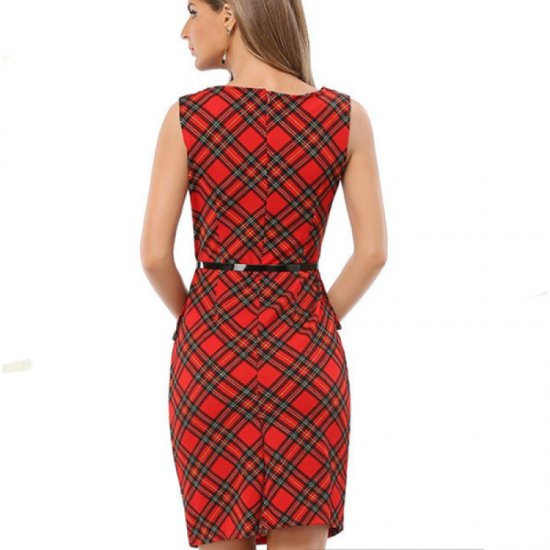 Womens Fashion Red & Black Color Sleeveless Round Neck Midi Dress WC-22 image