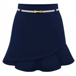 Women Fashion Irregular Blue Color Mini Skirt WC-23BL
