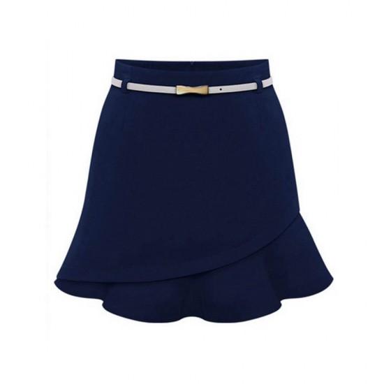Women Fashion Irregular Blue Color Mini Skirt WC-23BL image