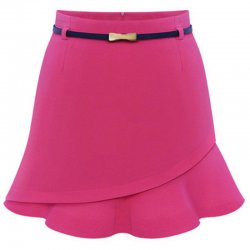 Women Fashion Irregular Pink Color Mini Skirt WC-23PK