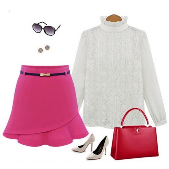 Women Fashion Irregular Pink Color Mini Skirt WC-23PK image