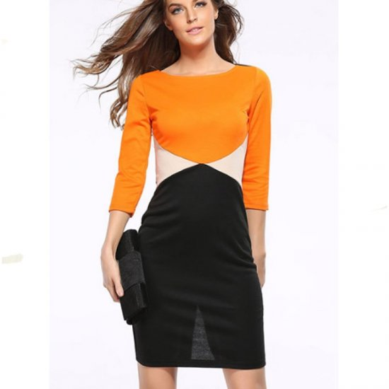 Orange Color Womens Fashion Round Neck Short Sleeves Pencil Skirts WC-24 image