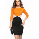 Orange Color Womens Fashion Round Neck Short Sleeves Pencil Skirts WC-24 images Dresses