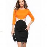 Orange Color Womens Fashion Round Neck Short Sleeves Pencil Skirts WC-24 image