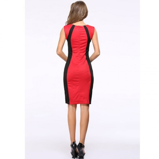 Womens Fashion Red Color Round Neck Pencil Bodycon Skirts WC-25 image