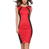 Womens Fashion Red Color Round Neck Pencil Bodycon Skirts WC-25