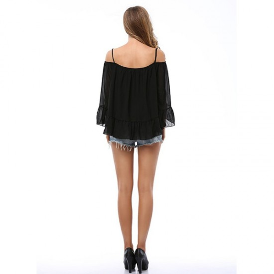 Women Fashion Black Color Sun Protection Chiffon Shirts WC-26BK