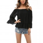 Womens Fashion Black Color Sun Protection Chiffon Shirts WC-26BK|images|Dresses