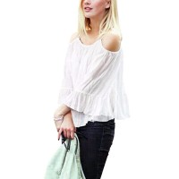 Women Fashion White Color Sun Protection Chiffon Shirts WC-26W