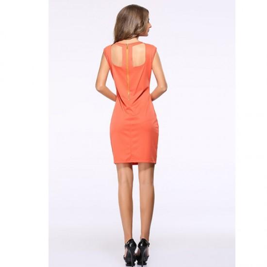 Women Round Neck Orange Color Solid Pencil Dress WC-27
