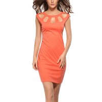 Womens Fashion Rond Neck Orange Color Solid Party Dress WC-27