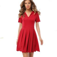 Womens Fashion V Neck Red Color Short Sleeve Pleated Petals Wave Skirt WC-28RD