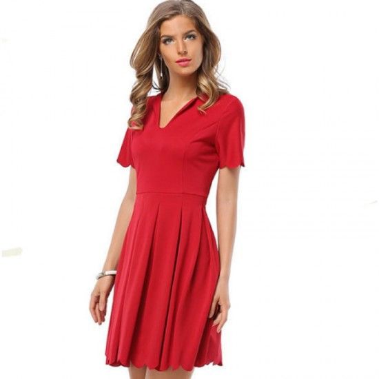 Womens Fashion V Neck Red Color Short Sleeve Pleated Petals Wave Skirt WC-28RD image