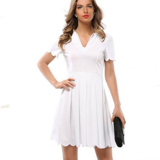 Womens Fashion V Neck White Color Short Sleeve Pleated Petals Wave Skirt WC-28W image
