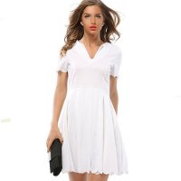Womens Fashion V Neck White Color Short Sleeve Pleated Petals Wave Skirt WC-28W