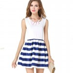 Womens Fashion Wind Navy Splicing Sailor Striped Sleeveless Skirt WC-29 image