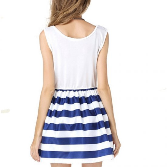 Women Fashion Wind Navy Splicing Sailor Striped Sleeveless Skirt WC-29 |image