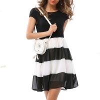 Womens Fashion Black And White Round Neck Short Sleeved Chiffon Mini Dress WC-30