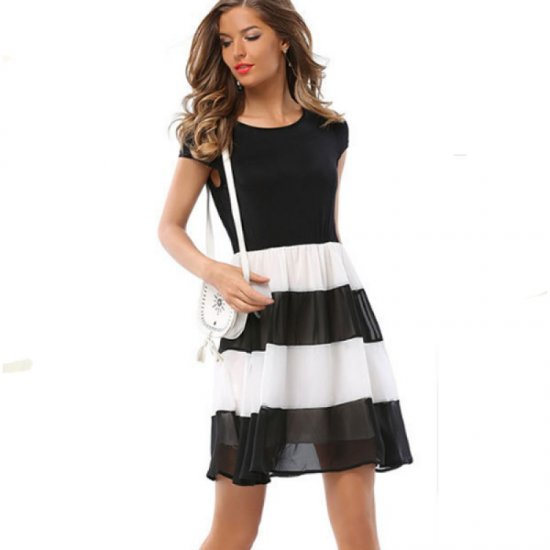 Womens Fashion Black And White Round Neck Short Sleeved Chiffon Mini Dress WC-30 image