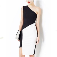 Women Fashion Off Shoulder Strapless Slim Sleeveless Mini Dress WC-31