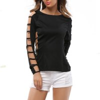 Grid Hole Blouse Women Fashion Long Sleeves Solid Color Shirt WC-33BK