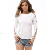 Grid Hole Blouse Women Fashion Long Sleeves Solid Color Shirt WC-33W