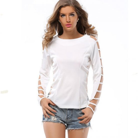 Grid Hole Blouse Women Fashion Long Sleeves Solid Color Shirt WC-33W image