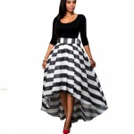 Black Color Women Summer Two Pieces Long Sleeves Shirt with Striped Skirt WC-34|images|Dresses