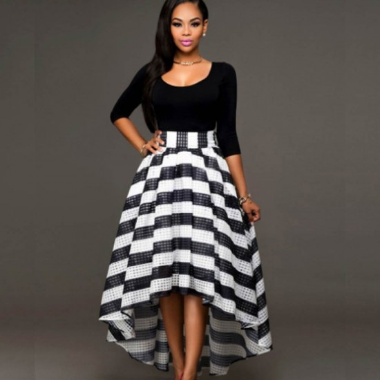 Black Color Women Summer Two Pieces Long Sleeves Shirt with Striped Skirt WC-34 |image