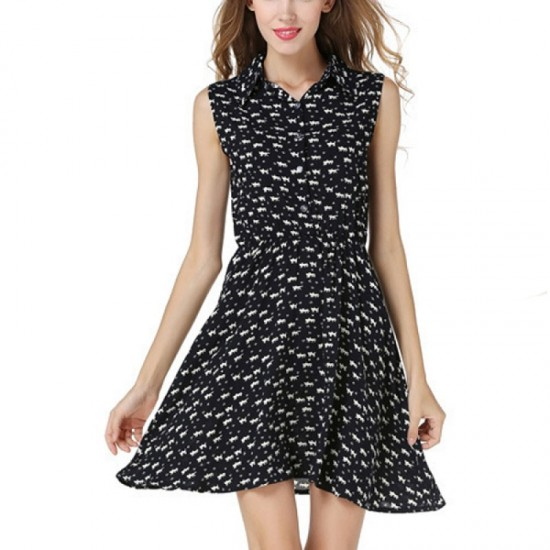 Black Color Womens Fashion Sleeveless Cat Printing Loose Skirt WC-35 image