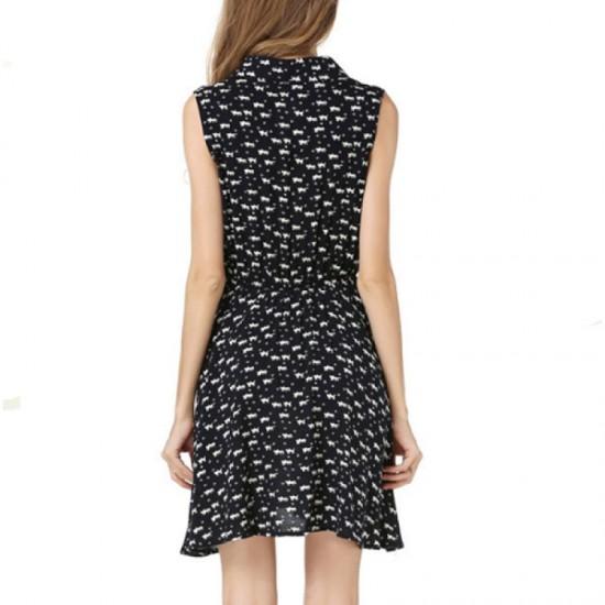 Black Color Womens Fashion Sleeveless  Cat Printing Loose Skirt WC-35