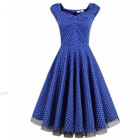Blue Color Womens Fashion Sleeveless Retro Wave Point Banquet Skirt WC-36