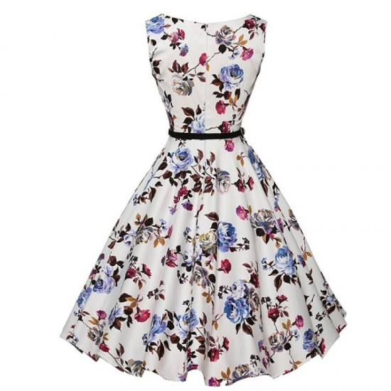 Round Neck Womens Fashion Sleeveless Waist Thin Big Belt Floral Skirts WC-37