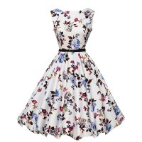 Round Neck Womens Fashion Sleeveless Waist Thin Big Belt Floral Skirts WC-37
