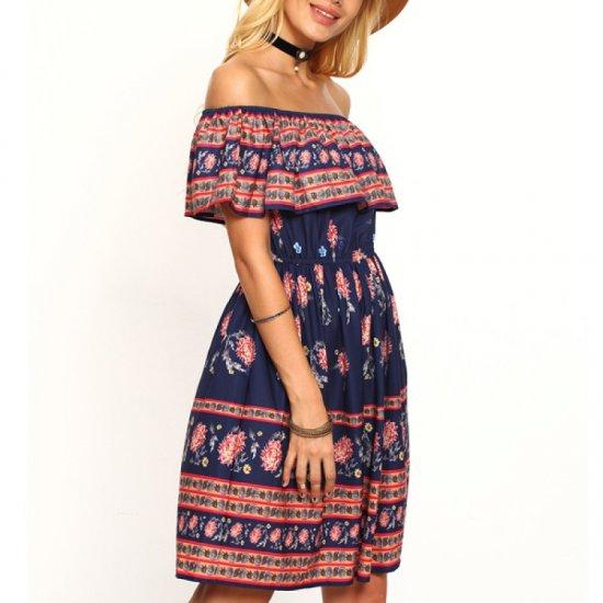 Off Shoulder Womens Fashion Spot Printed Princess Multi Color Skirt WC-38 image