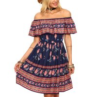Off Shoulder Womens Fashion Spot Printed Princess Multi Color Skirt WC-38
