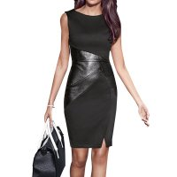 Black Color Women Fashion Formal Skinny Pencil Sleeveless Dress WC-39