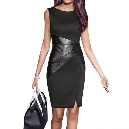 Black Color Women Fashion Formal Skinny Pencil Sleeveless Dress WC-39 image