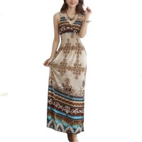 Womens Fashion Multi Color Bohemian Beach Print V Collar Dress WC-40