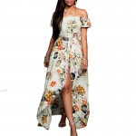 Multi Color Womens Off Shoulder Spot Printed Skirt Dress WC-41 image