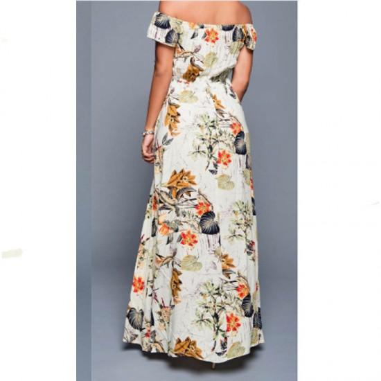 Multi Color Womens Off Shoulder Spot Printed Skirt Dress WC-41