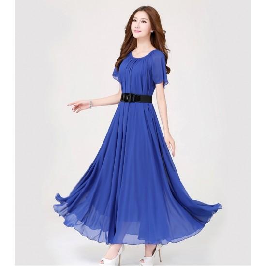 Blue Color Womens Fashion Bohemian Beach Maxi Chiffon Dress WC-42BL image