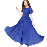 Blue Color Womens Fashion Bohemian Beach Maxi Chiffon Dress WC-42BL