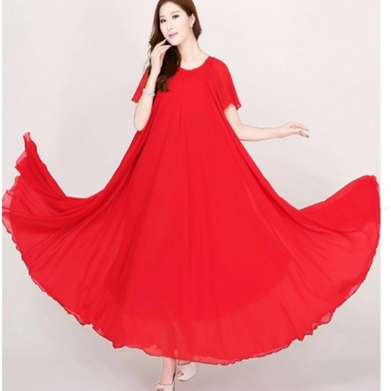 Red Color Womens Fashion Bohemian Beach Maxi Chiffon Dress WC-42RD