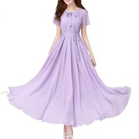 Purple Color Womens Fashion Bohemian Beach Maxi Chiffon Dress WC-42PR
