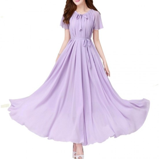 Purple Color Womens Fashion Bohemian Beach Maxi Chiffon Dress WC-42PR image