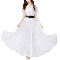 White Color Womens Fashion Bohemian Beach Maxi Chiffon Dress WC-42W